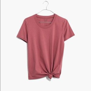 Madewell knot front tee berry pink red Small